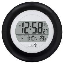 Acctim Circus Radio controlled black date temp wall clock MSF signal 74583