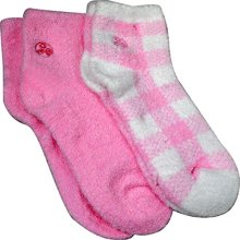 Aloe Moisture Socks by Earth Therapeutics 2 Pack Pink Plaid Infused with Natural Aloe Vera &amp Vitamin E