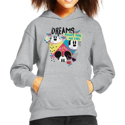 (Large (9-11 yrs), Heather Grey) Disney Mickey Mouse Dreams Bigger Than My Ears Kid's Hooded Sweatshirt