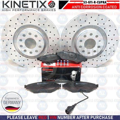 FOR GOLF R MK7 FRONT KINETIX PERFORMANCE DRILLED BRAKE DISCS BREMBO PADS 340mm