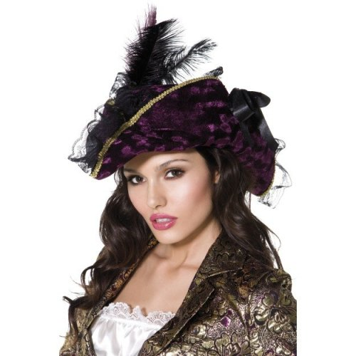 Purple Marauding Pirate Hat With Feathers & Riboon -  hat pirate fancy dress ladies deluxe costume accessory purple marauding smiffys sexy