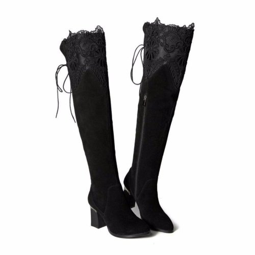 Women Genuine Real Leather Over The Knee Boots Winter Boots Sexy High Heel Round Toe Zipper Women Boots Shoes Size 33-42