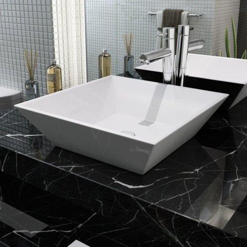 142344 vidaXL Basin Square Ceramic White 41,5x41,5x12 cm