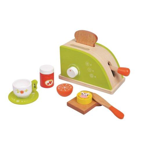 Lelin Wooden Toaster Bread Breakfast Set Pretend Play Childrens Kids Toys