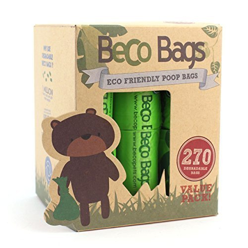 Beco Bags - Value Pack - 270 Large Unscented Poop Bags For Dogs - Eco-conscious -  bags beco 270 poop value dog degradable pack large dogs friendly