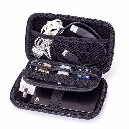 GHKJOK Electronics Pouch Cable Tidy Organiser Accessories Hard Drive Storage Bag for Power Bank, Hard Drive, Smart Phone, Charger, U Disk (Black)