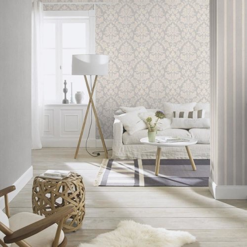Rasch Barbara Becker Damask Pattern Wallpaper Baroque Textured Fabric Effect[GREY 474343]