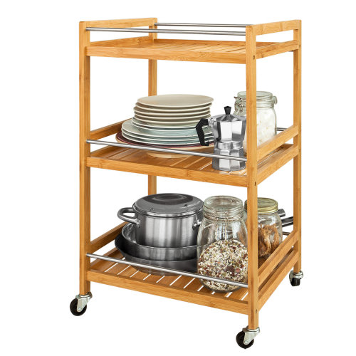 SoBuy® FKW11-N, 3 Tiers Bamboo Serving Trolley Kitchen Trolley