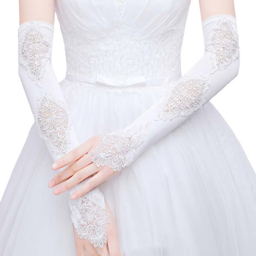 Bridal Wedding Gloves Party Dress Lace Long Gloves A07