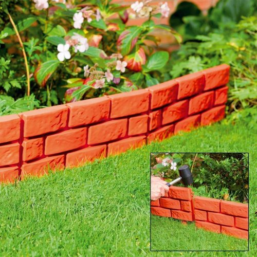8 X Terracotta Instant Brick Effect Hammer in Garden Lawn Edging Plant Border