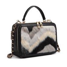 f18af160d6 Miss Lulu Fluff Ornament Women Leather Handbag Shoulder Bag Top-handle Tote  Black