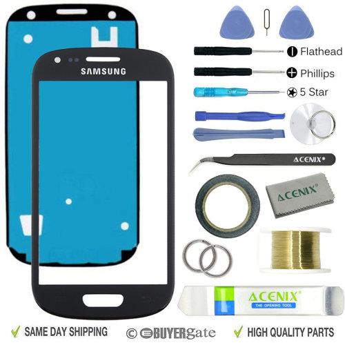 Samsung Galaxy S3 MINI I8190 Front Glass len Screen Replacement Repair Kit Black