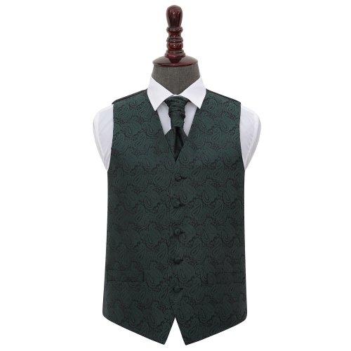 Emerald Green Paisley Wedding Waistcoat & Cravat Set 44'