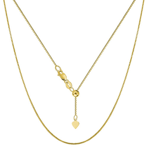 93d831ed5eff5 14k Yellow Gold Adjustable Box Chain Necklace, 0.7mm, 22