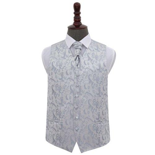 Silver Floral Wedding Waistcoat & Cravat Set 50'