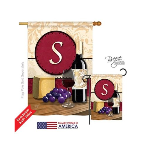 Breeze Decor 30227 Wine S Monogram 2-Sided Vertical Impression House Flag - 28 x 40 in.