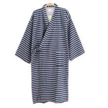 Japanese Style Men Thin Cotton Bathrobe Pajamas Kimono Skirt Gown-A09