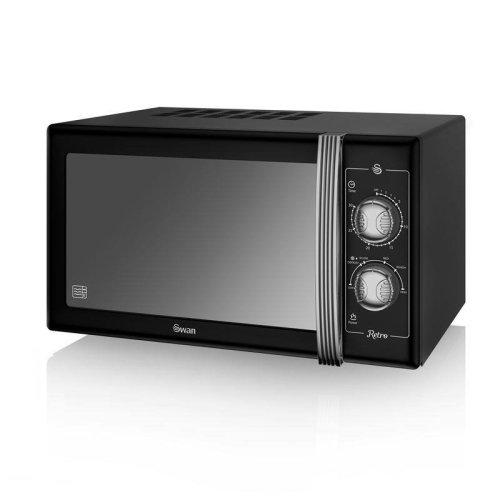 Swan Retro Manual Microwave 25 Litre 900 Watt Power - Black (SM22070BN)
