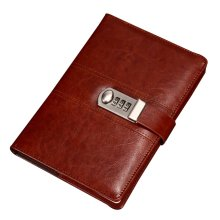Creative Password Notebook With Lock Notebook Diary Business Notepad, Brown