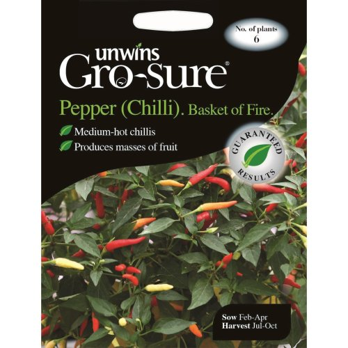 Unwins Pictorial Packet - Pepper (Chilli) Basket of Fire F1 - 6 Seeds