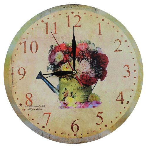 Obique Home Decoration MDF Flowers Romantic Scene Wall Clock 28cm