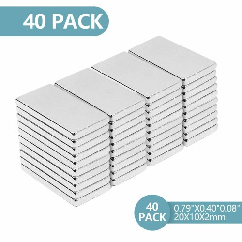 Rare Earth Magnet, Neodymium Magnets, Bar magnets for Crafts, Science, DIY and Refrigerator Magnets- 20 x 10 x 2 mm(40PCS) (40PC)