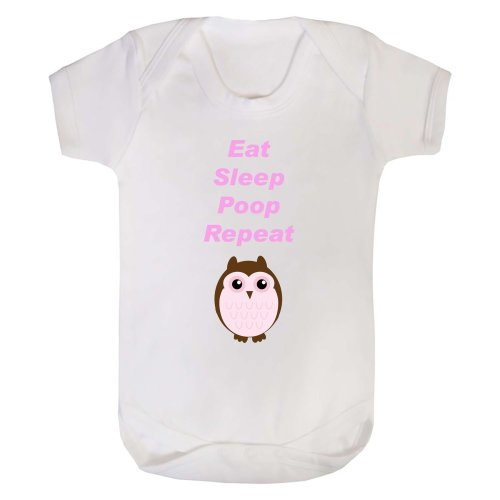 Eat Sleep Poop Repeat Owl Baby Grow Onesie