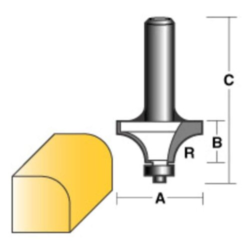 """CARB-I-TOOL ROUND OVER ROUTER BIT 1/2 W/BEARING 1/2"""" SHANK"""
