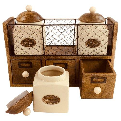 Wooden Rack Cabinet Drawer 3 Set Ceramic Tea Coffee Sugar Storage Jars