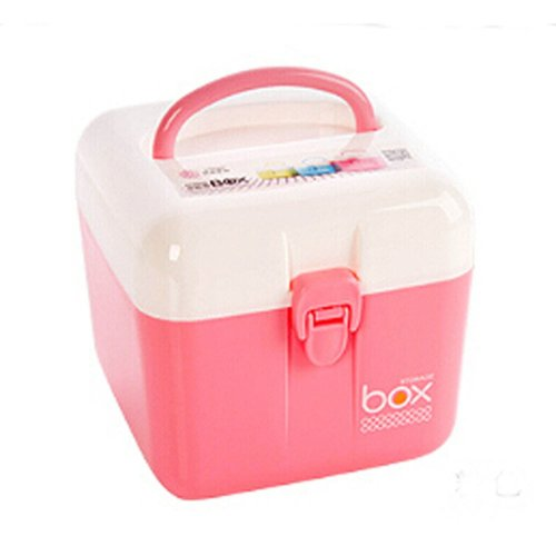 Portable Storage Box Durable Storage Container Medicine Chest,PINK