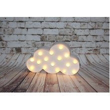 White Cloud With White LED Bulbs - Table Top or Wall Hanging