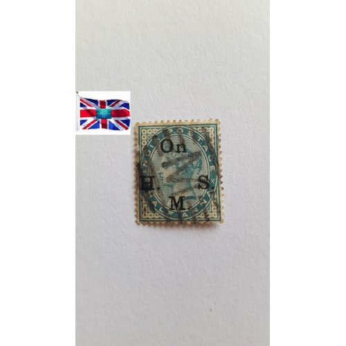 """India 1883 """" Queen Victoria - Official """"On H.M.S."""" overprint """" ½ Indian anna"""