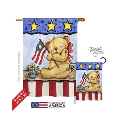 Breeze Decor 11006 Patriotic Pat Bear 2-Sided Vertical Impression House Flag - 28 x 40 in.