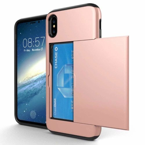 free shipping 59c94 0ae3b OMD iPhone X Case, iPhone Xs Case, [Double Card Holder Slot] ShockProof  Wallet Protective Phone Cover with Tough Heavy Duty Silicone Card Case  for...
