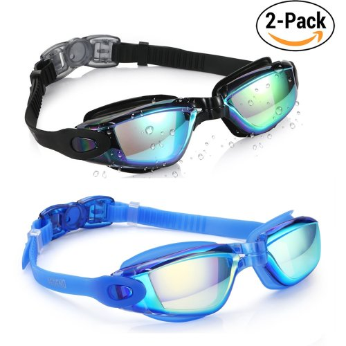 Aegend Swim Goggles, Pack of 2 Swimming Goggles Crystal Clear No Leaking Anti Fog UV Protection Triathlon Swim Goggles with Free Protection Case...