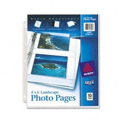 Avery 13406 Photo Pages for Four 4 x 6 Horizontal Photos  3-Hole Punched  10 Pack