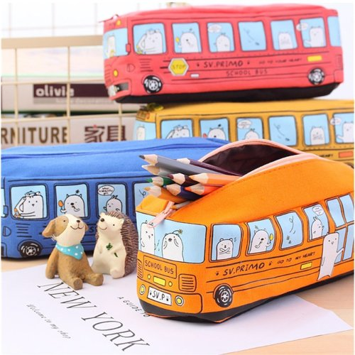 Cartoon Bus Pencil Case Pen Bag School Bag