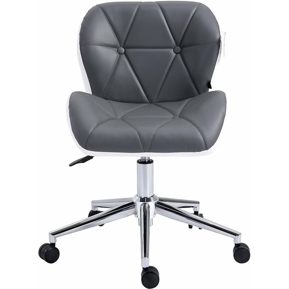Tremendous Cherry Tree Furniture Faux Leather Chrome Base Tufted Swivel Office Chair Desk Chair Grey White Grey White Ocoug Best Dining Table And Chair Ideas Images Ocougorg