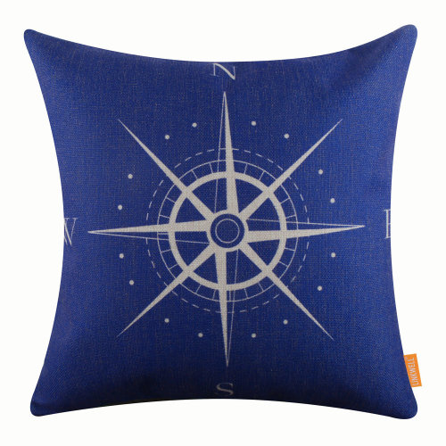 "18""x18"" Modern Blue Compass Burlap Pillow Cover Cushion Cover"
