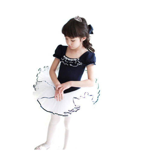 [NAVY]Short Sleeve Flower Cute Kid Ballet Dress Child Ballet Leotard Tutu, 120cm