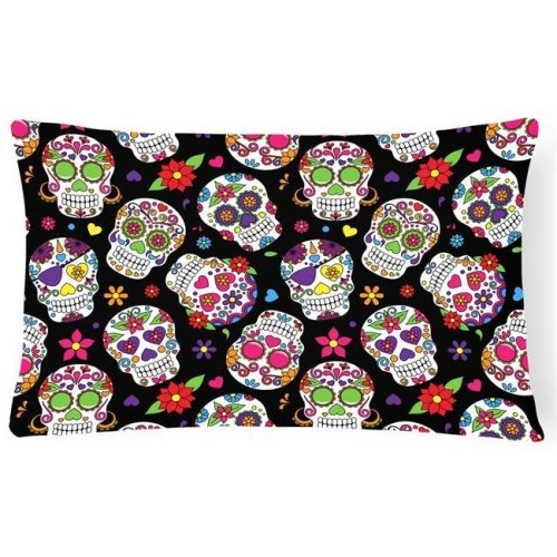 Carolines Treasures BB5116PW1216 Day of the Dead Black Canvas Fabric Decorative Pillow