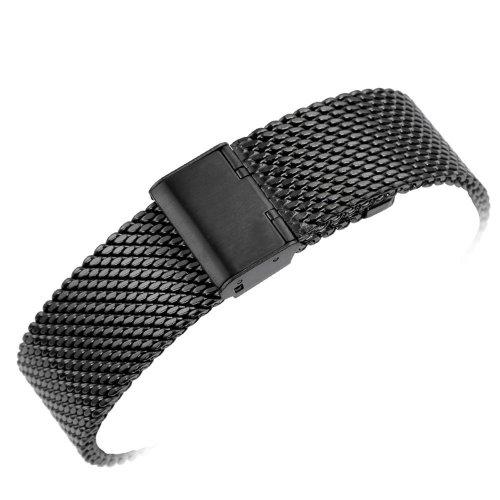 20mm Solid Milanese Mesh Black Watch Stainless Steel Strap, Hook Buckle 2.0cm