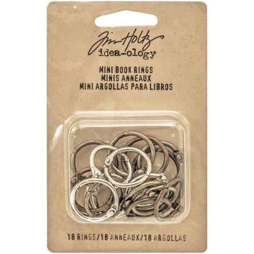 "Idea-Ology Metal Mini Book Rings .75"" 18/Pkg-Silver, Antique Brass & Antique Copper"