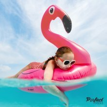 Official 'Perfect Pools' Inflatable Giant Pink Flamingo Rubber Ring | Swimming Pool Float 110cm