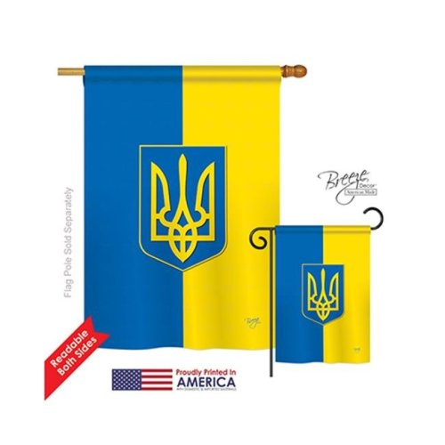 Breeze Decor 08192 Ukraine 2-Sided Vertical Impression House Flag - 28 x 40 in.