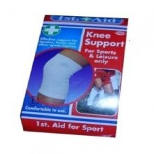 White Elasticated Knee Support Bandage - Aid First Sports Injury 1st 075228 New -  aid knee support first sports injury 1st 075228 new branded pack