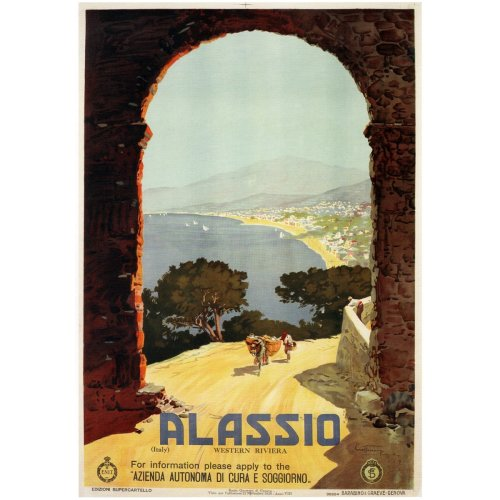 Advertising poster - Alassio - High definition printing on stainless steel plate