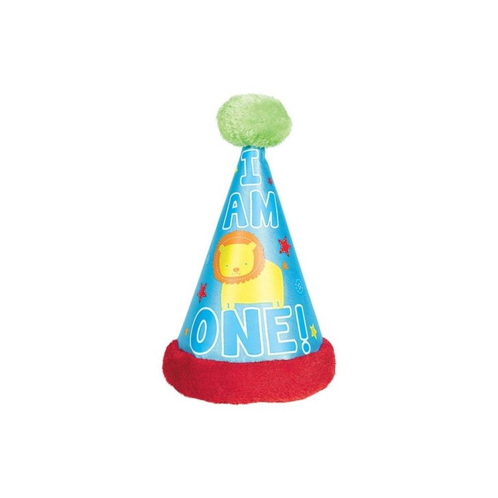Amscan 259201 First Birthday One Wild Boy Cone Hat With Faux Synthetic Fur Trim