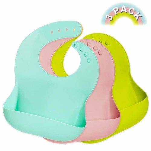 Waterproof Silicone Bibs Feeding Baby Crumb Catcher Wipeable Pocket Bibs Toddler