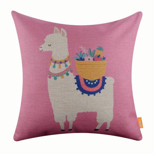 """18""""x18"""" Cartoon Pink Llama Love Burlap Pillow Cover Cushion Cover"""